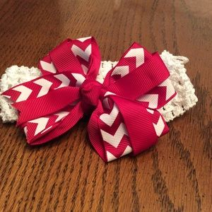 Other - Maroon and White Infant Bow